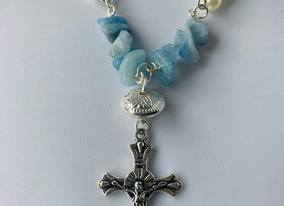 Aquamarine and Pearl Cross Necklace