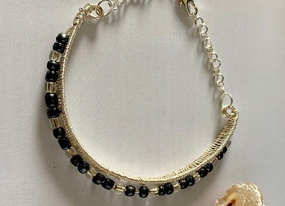 Wire Wrap Glass Beaded Bracelet