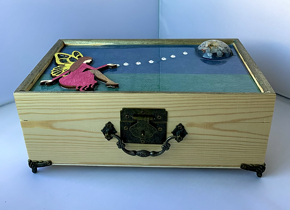 Multi Medium Wooden Box with Orgonite Moon