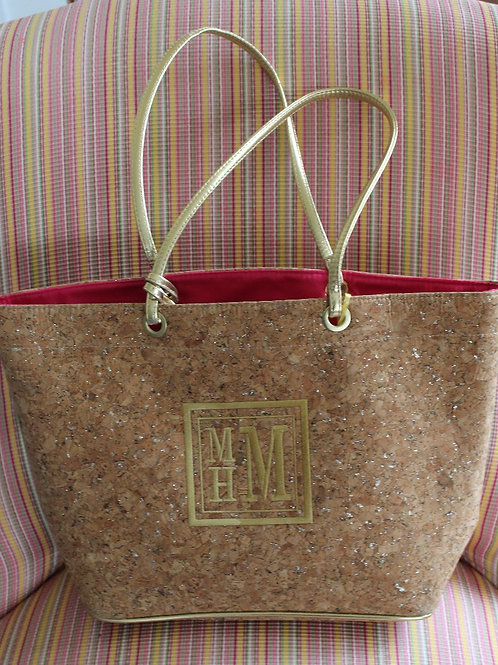 Lined Cork Tote Bag With Monogram
