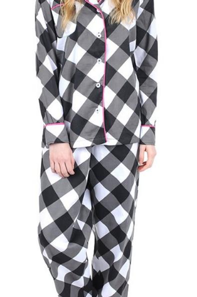 Buffalo Black Sateen Pajama Set