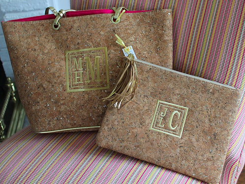 Cork Lined Monogramed Clutch
