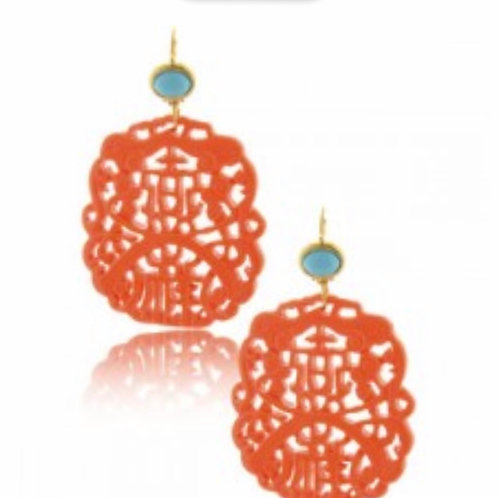 Coral Carved Earrings
