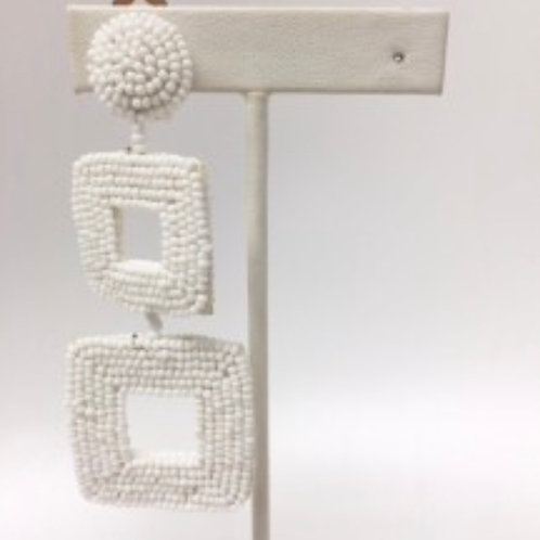 White Square Drop Clip Earrings