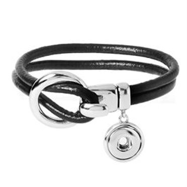 GINGER SNAPS PETITE BLACK LEATHER WITH DROP BRACELET