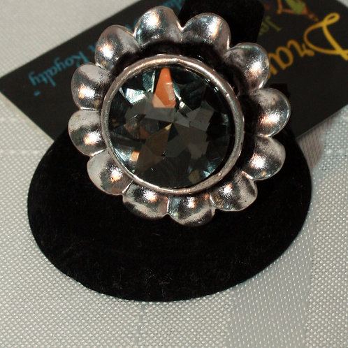 Smoke Crystal Flower Ring