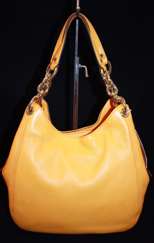 6d242e7e8571 Michael Kors Fulton Chain. Authentic. Vintage Yellow Medium Shoulder Tote.  Leather. Two outside snap compartments. Middle Zipper Compartment.