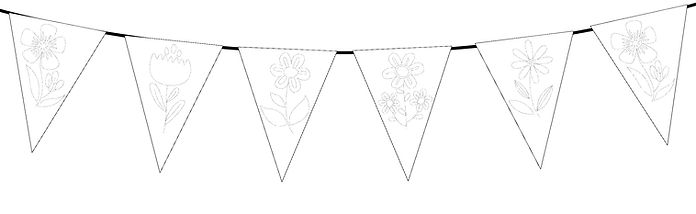 Flowers Colour in Small Triangle Bunting