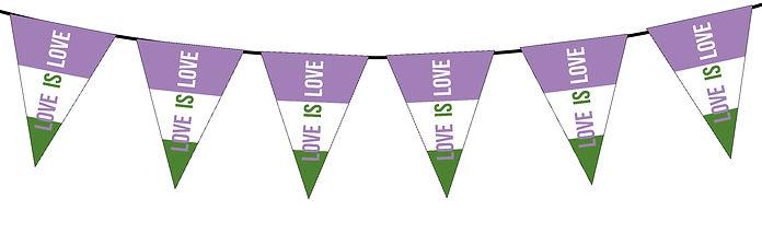 Pride Flag Love is Love-Genderqueer