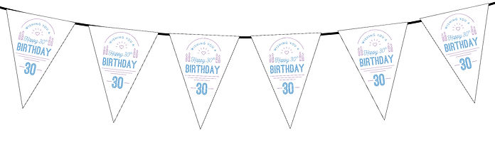 Wishing You a Happy Birthday 30th White