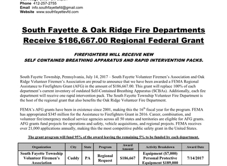 Oak Ridge VFD and South Fayette VFD Receive 2016 AFG Grant Totaling $186,667.00