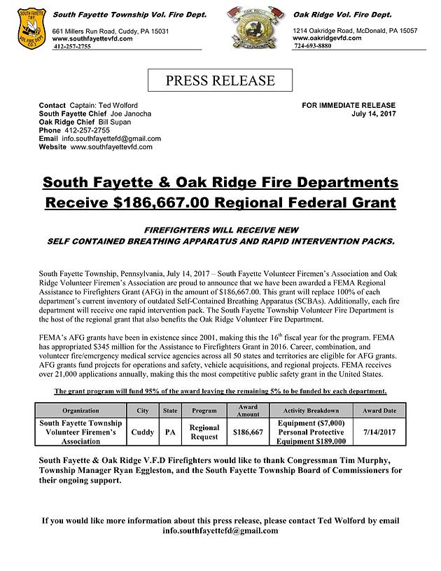 Oak Ridge VFD and South Fayette VFD Receive 2016 AFG Grant