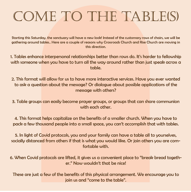 Come to the Table Announcement March 202