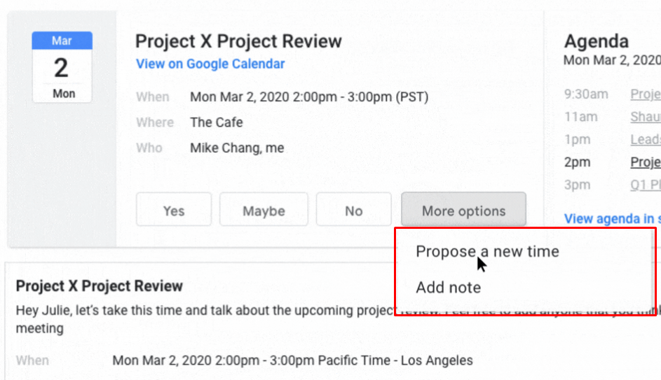Propose a new time for the meeting or add a note.