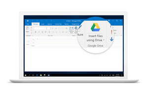 Rather than using the Google Drive plug-in for Microsoft  Office interface, there is new process to save and open Drive files through the regular menu