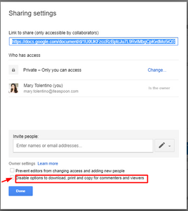 G Suite Tips | Check the Disable options to download, print, and copy for commenters and viewers box.