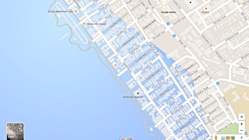 Venice Beach vil ligge under vand, hvis havet stiger 61 meter. Screenshot: Google Maps/Newsweek