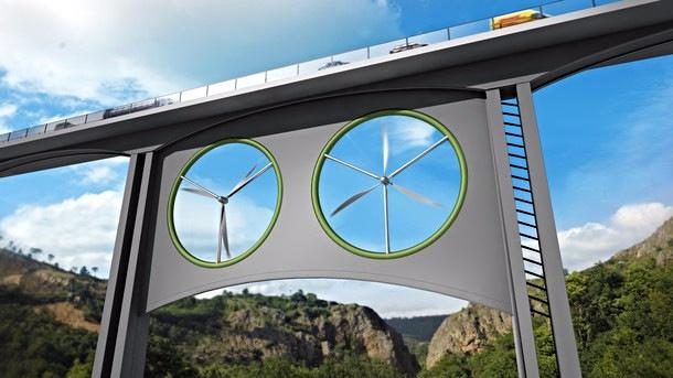 En illustration viser, hvordan vindmøller kan bygges ind i broer. Illustration: José Antonio Peñas/Sinc