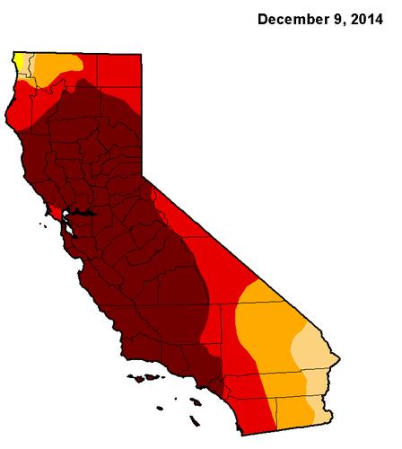 Et kort viser tørkens udbredelse i Californien i december sidste år.