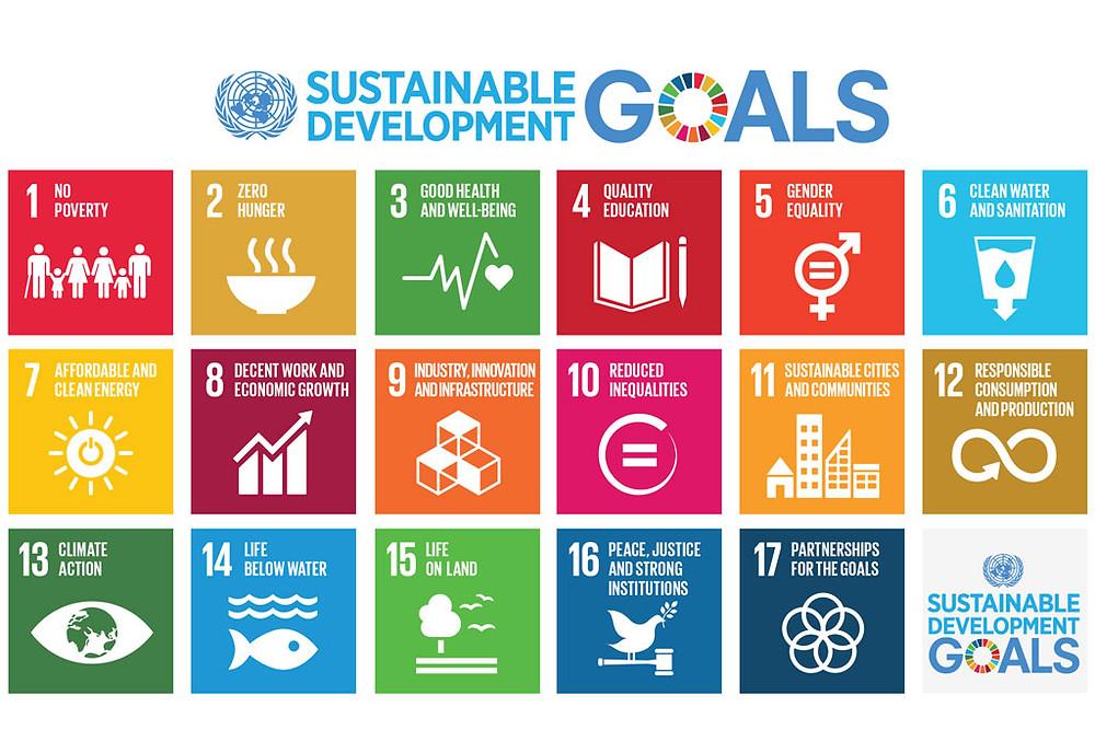 FN's 17 bæredygtighedsmål inkluderer bl.a., at vores energi skal være ren, at fattigdom skal afskaffes og lighed mellem kønnene. Illustration: FN