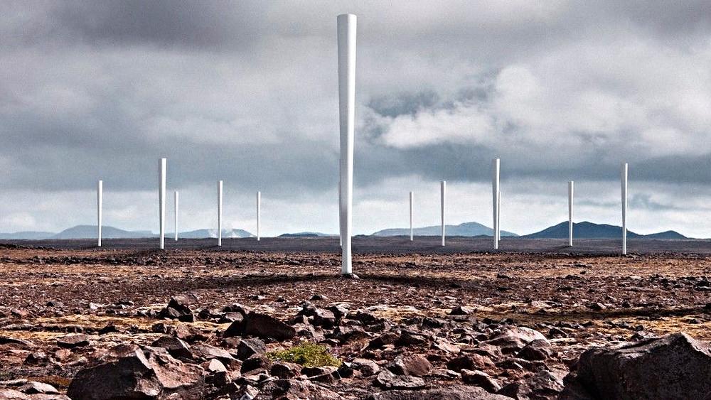 Vindmøllerne uden vinger. Foto: Vortex Bladeless