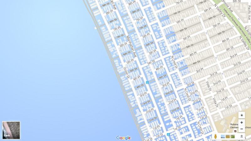 Her ses, hvordan Manhattan Beach vil blive oversvømmet af havets stigninger. Screenshot: Google Maps/Newsweek