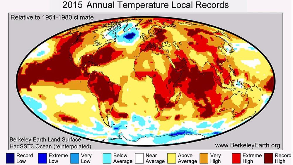 Data viser, at kloden bliver stadigt varmere. De røde punkter viser ekstremt høj eller rekordhøj varme i forhold til normen, og 2016 tegner til at blive det varmeste år registreret. Foto: Wikimedia Commons