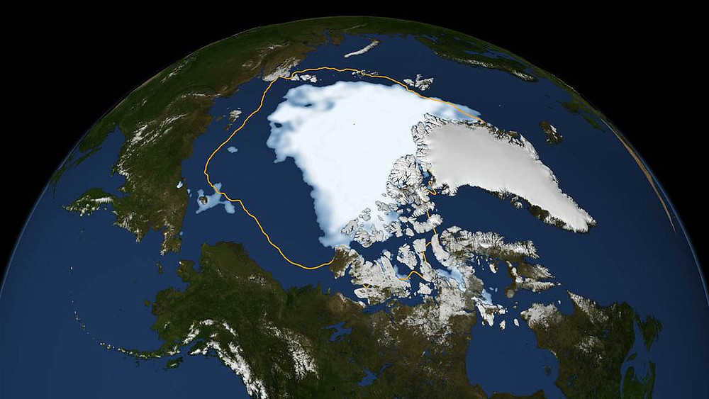 I 2012 viste data fra Nasa, at Arktis var skrumpet til rekordniveau. Den gule linje viser den gennemsnitlige minimumstørrelse i perioden 1979 til 2010. Illustration: Nasa