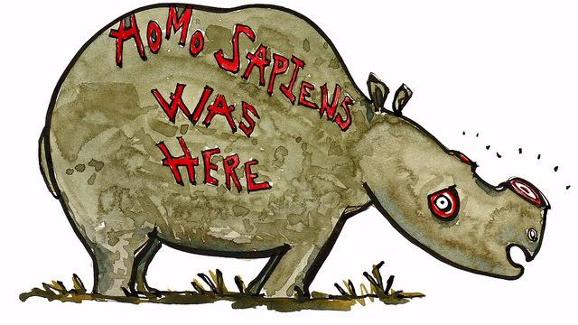 Sidste år dræbte krybskytter 1.338 næsehorn - det højeste antal i næsten et årti. Illustration: Hikingartist.com