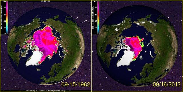 Arktis er svundet markant ind på blot 20 år. Illustration: University of Illinois - Kollage: John S. Quarterman