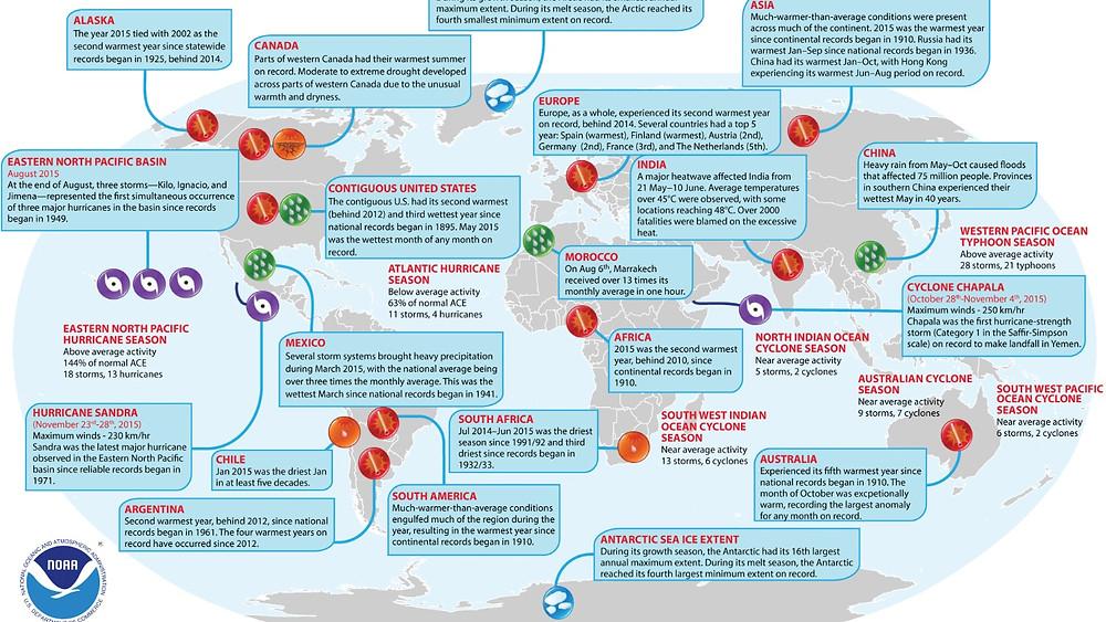 Et udpluk af usædvanlige vejrfænomener i 2015. Data/illustration: State of the Climate in 2015/Noaa