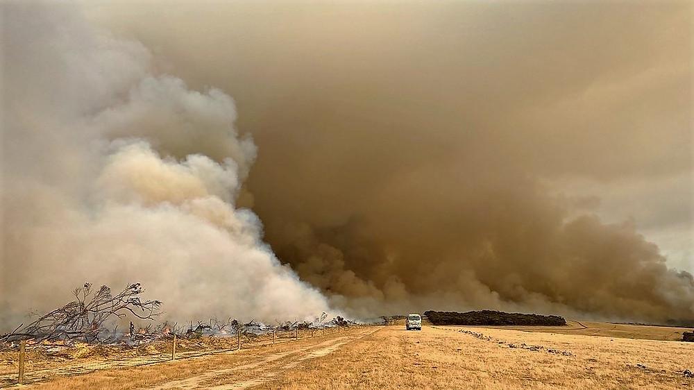 En mark i Australien brænder