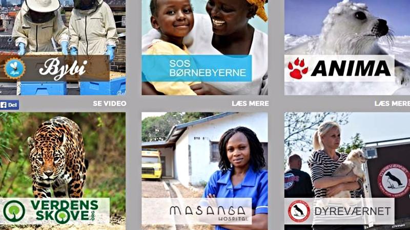 Her er et udpluk af nogle af organisationerne, der samarbejder med GreenSpeak og dermed kan få del i selskabets overskud. Screenshot: greenspeak.dk