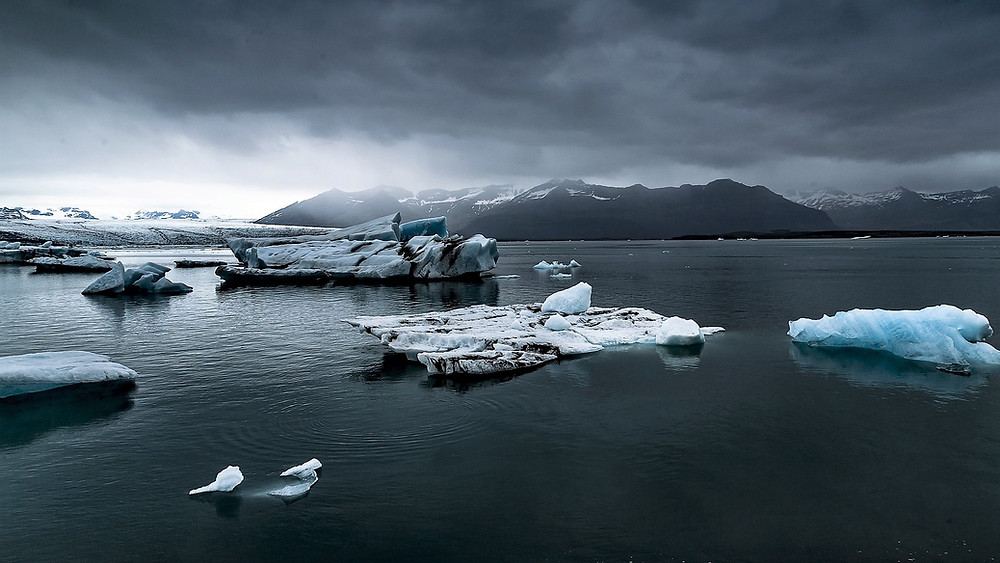 Et billede af gletsjere og stykker af is i havet