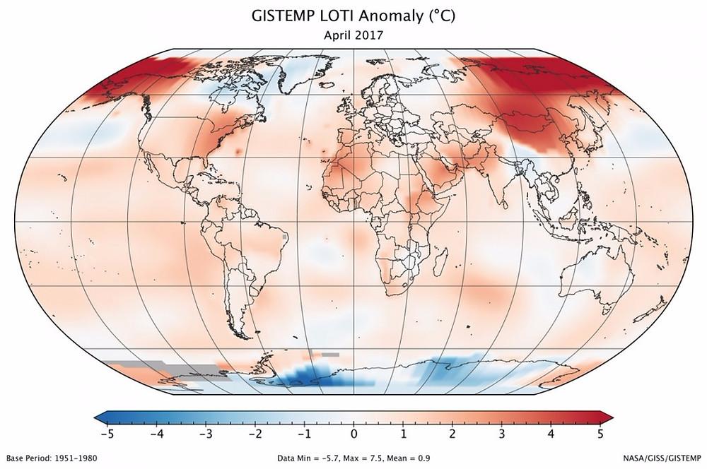 De seneste data fra Nasa viser, at den globale opvarmning fortsætter. Data og illustration: Nasa