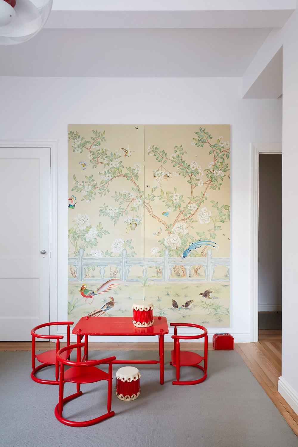 Ikea Playroom Gracie DeGournay Wallpaper Panel Red High Gloss
