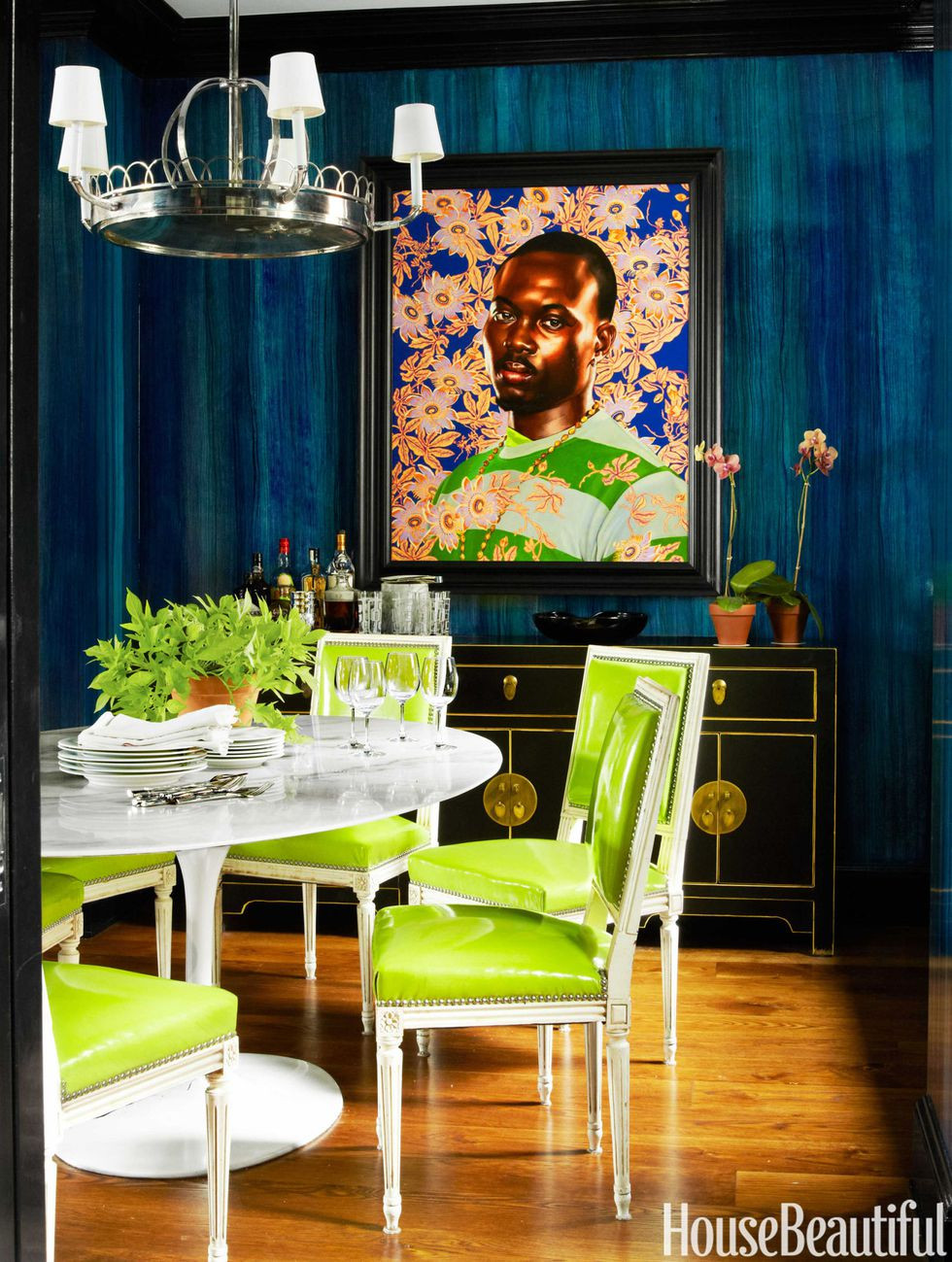 Miles Redd Dining Room Architectural Digest Chartreuse
