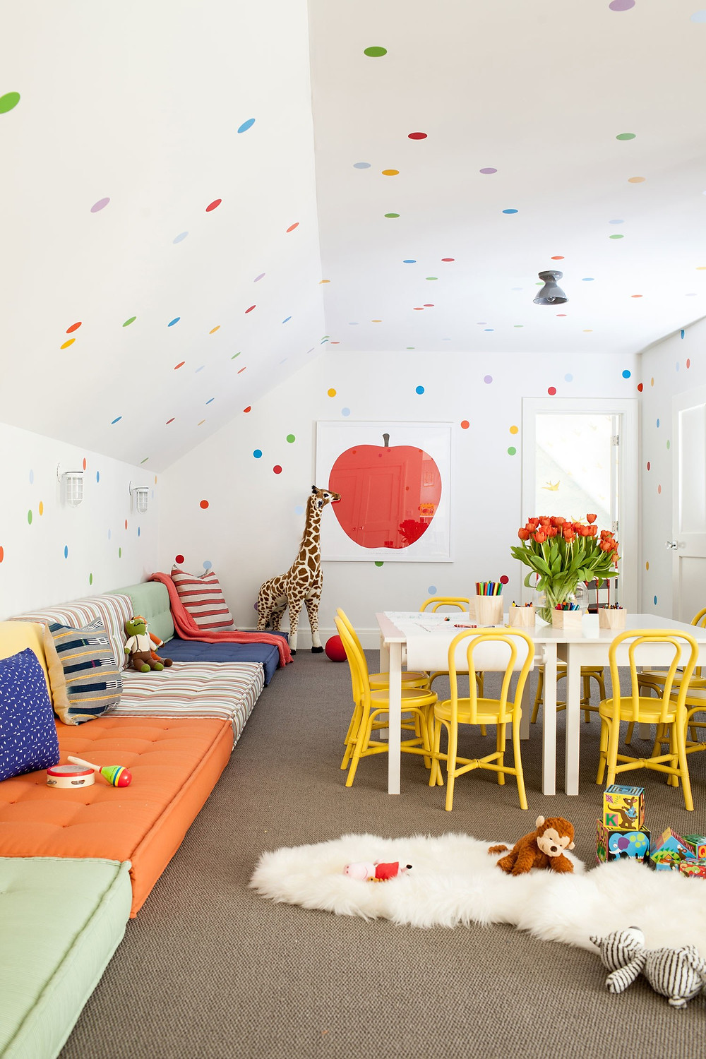 Whimsical Playroom Polka Dot Architectural Digest Connecticut