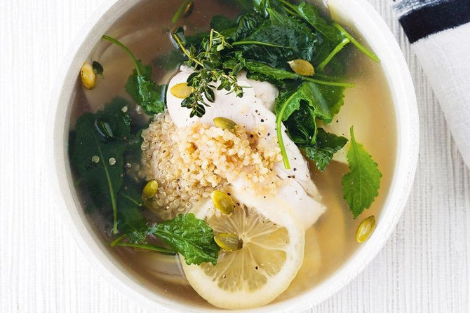 Recipe: Chicken, quinoa and kale broth