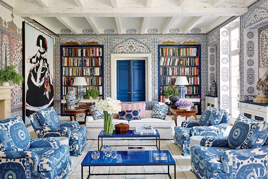 Miles Redd Monochromatic Living Room Blue