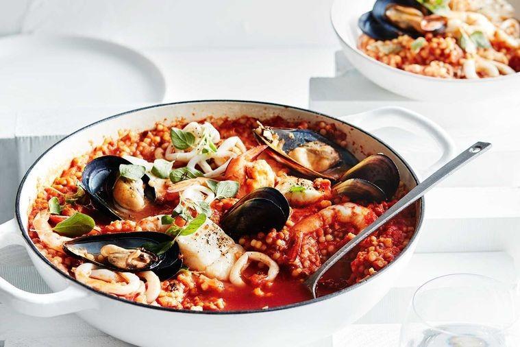 Seafood fregola stew