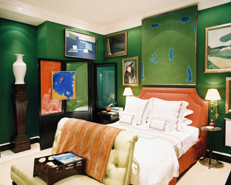 Miles Redd Green and Orange Bedroom Secondary Color Scheme