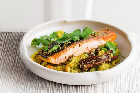 Indian-spiced salmon with coconut cauliflower rice