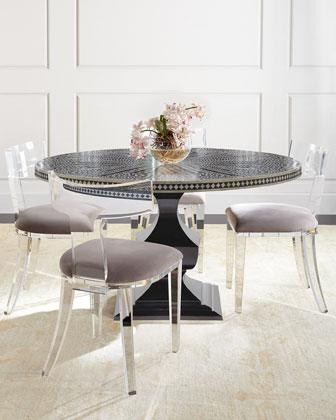 Acrylic Klismos Chairs with Bone Inlay Table