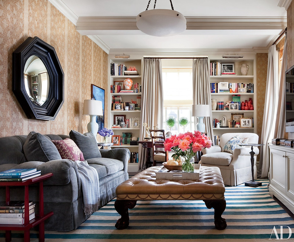 Home Library, Visual Comfort, Bookcase, Wallpaper