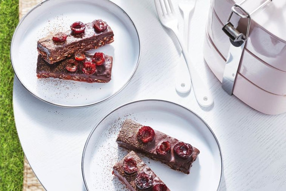 Healthy Cherry Ripe slice