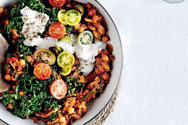 Vegetarian harissa breakfast hash