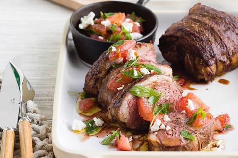 Roast lamb with pink grapefruit salsa