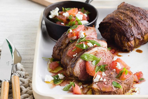 Roast lamb with pink grapefruit salsa