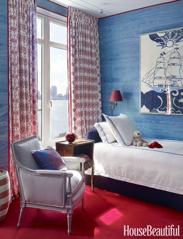 Miles Redd Boy's Bedroom Red and Blue Traditional Design